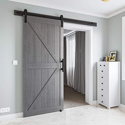 COSHOMER 36in x 84in MDF Sliding Barn Door with 6.6ft Barn Door Hardware Kit & Handle, Pre-Drilled Holes Easy Assembly -Solid Wood Slab Inside Covered with Water-Proof PVC Surface, Grey, K-Frame