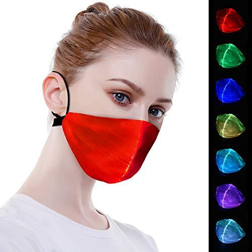 HISOME Light Up Maske, LED Halloween Maske 7 Farben Leuchtendes Licht LED Rave Masken USB Lade wasserdichte LED Staubmaske LED Blinkende Maske für Männer Frauen Weihnachten Halloween Party