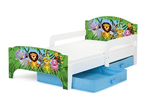 Leomark SMART Kleinkinderbett aus Holz - Tiere - Kinderbett mit Schubladen für...
