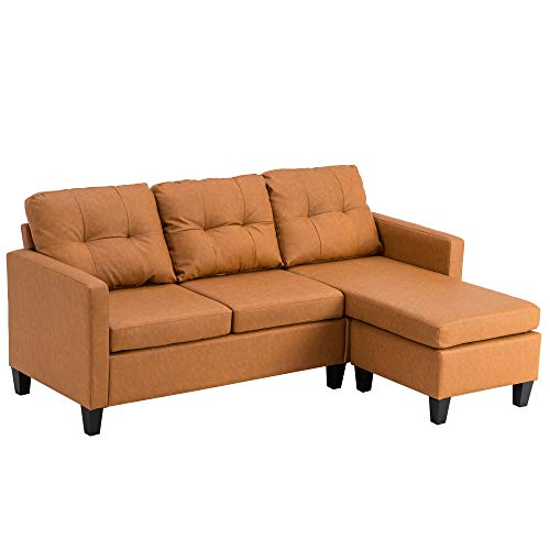 Bonnlo Corner Sofa, 3 Seater Sofas Small Corner Sofa L Shaped Sofa, Chaise Lounge Sofa with Reversible Footstool, Modular Sofa Gaming Couch L Shaped Settee for Living Room, Reception Room, Light Brown