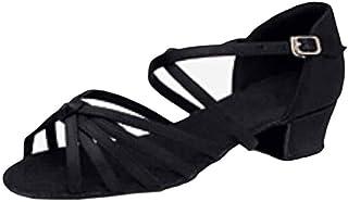 Huicai Chaussures de Danse Latine pour Filles découpées avec des Chaussures à Talons Bas