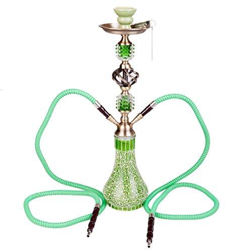 DXP Wasserpfeife Shisha Hookah 2 Schläuchen ca.55cm inkl. Kohlezange und Zubehör NEU JYH04 grün