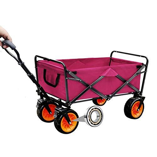 MNSSRN Folding Outdoor-Trolley Cart, bewegliche Anhänger, Picknick-Pull-LKW, Stable Sicherheitsgurt Brake, Multi-Funktions-Trolley Warenkorb Warenkorb,Rot,A