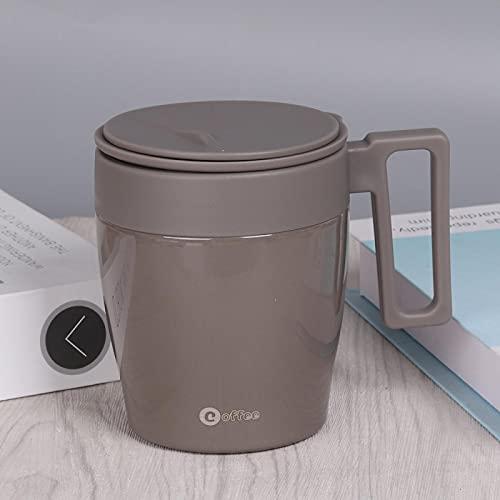 Taza De Café De 330 Ml Tazas Térmicas Taza De VacíoTermo Para Té Botella De Agua Aislada De Acero InoxidableCon Tapa De Asa Oficina Marrón