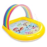 Regenbogen-Bogen Spray Pool for Kind, tragbare Infltable Kinder Pool, Splash Pad for Kleinkinder, Sommer Aussen Spray Wasserspielzeug, Kleinkind Sinnes Spielzeug for Junge Alter