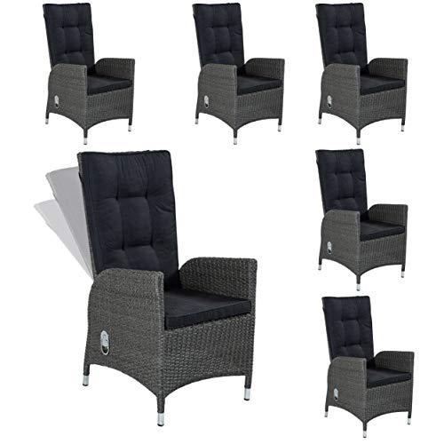6 Gartenstühle Barcelona Positionsstuhl grau Wholesaler Art. 148204 Gartensessel