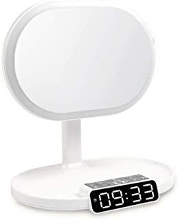 Vanity Mirror Desktop Makeup MirrorLED Light Sensor Switch Connected to Bluetooth TF Card Radio Alarm Timed Off Single-Sided ABS HD for Family Dressing Room (Color : White)