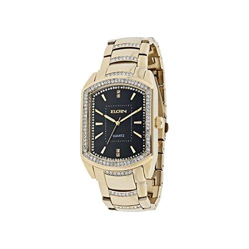 Mens Gold-Tone & Crystal-Accent Rectangular Watch - ELGIN FG8079
