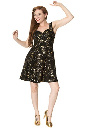 Verboden Kleding 'Out of this World' Saturn Stars 50s Mini Jurk Zwart Goud