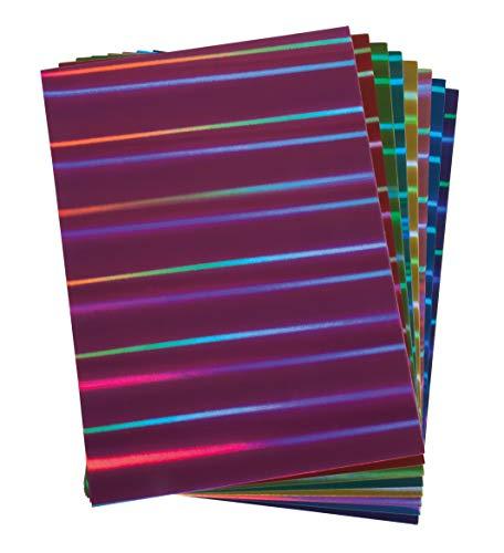 Rayher 67301999 Effektpapier Hologramm Mix, A4, 250g/m2, Hologramm-Papier Streifen, säurefrei, Btl. 8 Blatt verschiedene Farben