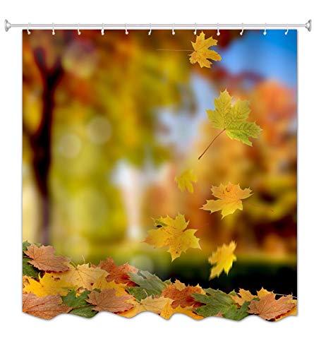 A.Monamour Herbst Herbst Saison Orange Gelb Ahorn Gefallen Blätter Natur Landschaft Bild Drucken 100prozent Polyester Stoff Duschvorhang PVC Frei Für Standard-Größe Badewannen 180X200 cm / 72