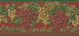 Waverly Sonoma Valley Collection Wall Border 5509630 Chianti Red Grapes Wallpaper Wine Country Grapevine Clusters Rich Olive Greens Golden Browns on Burgundy Red Home Decor