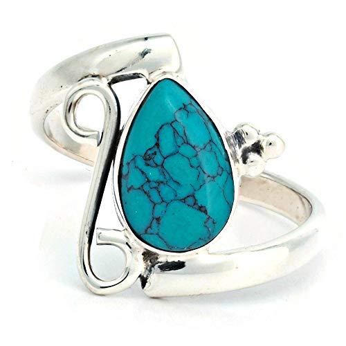 Ring Silber 925 Sterlingsilber Türkis blau grün Stein (Nr: MRI 195), Ringgröße:56 mm/Ø 17.8 mm
