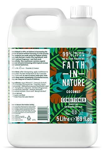 Faith in Nature Après-Shampoing Naturel Huile de Coco, Hydratant, Végan et Respectueux des Animaux, Sans Parabènes et Sans SLS, Cheveux Normaux à Secs, Recharge 5L
