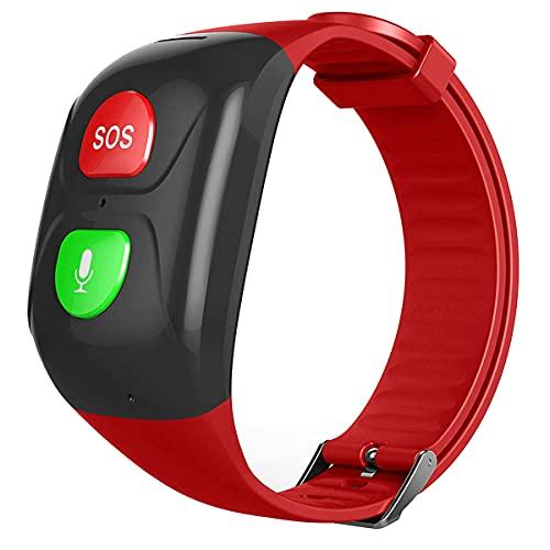 EANSSN Pulsera De Posicionamiento Inteligente, Reloj A Prueba De Agua Llamada Anti-Pérdida De Salud Monitoreo De La Salud Cardíaca Pulsera De Presión Arterial, Adecuada para Ancianos,Rojo