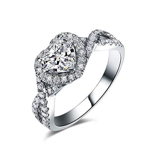 KnSam 18K Oro Blanco Anillo, Anillo Solitario Corazón, Diamante I-J, Color Plata, Diamante Principal 1ct - Talla 28