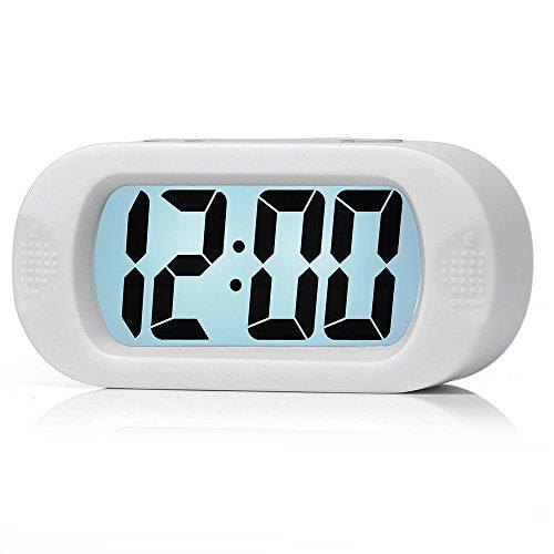 Plumeet Einfach Einzustellen, Großer Digitaler LCD-Reisewecker, Mit Schlummermodus und Nachtlicht, Ansteigendem Soundalarm & Handgerät-Größe, Kinder (Weiß)