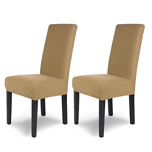 SCHEFFLER-Home Luna 2 Fundas de sillas, Estirable Cubiertas, Chenilla extraíble flexibel Funda con Banda elástica, Beige