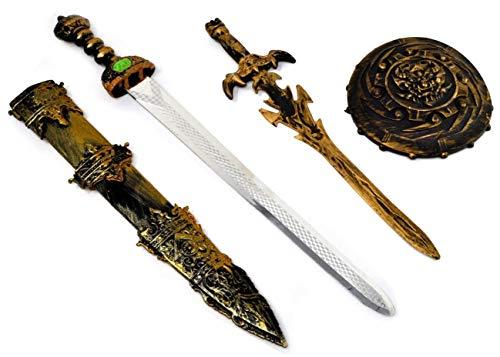 ARUNDEL SERVICES EU Espada y Escudo con Daga Espada Accesorio Caballero Juguete Escudo y Espada Guerrero Espada de Juguete Dragones