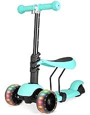 Bamny kinder step Scooter Loopfiets Zonder Pedaal Lichtgewicht Kinderen in hoogte verstelbaar stuur en LED-lichtgevende van 1 tot 5 jaar - groen