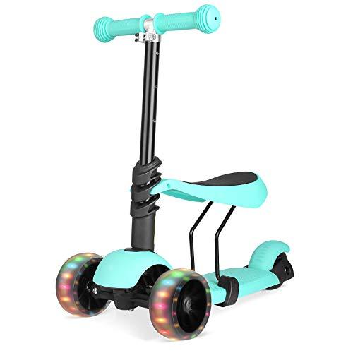Bamny 3-in-1 Kinderscooter Kinderroller Kickboard mit Abnehmbarem Sitz und LED-Lichträdern, Einstellbarer Höhe, Roller für Kinder von 1 bis 6 Jahren(Grün)