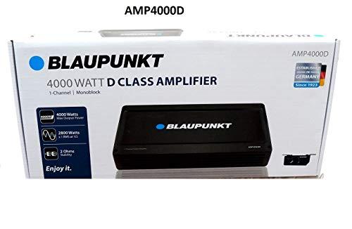 Blaupunkt AMP4000D 4000W Max 1-CH Monoblock Class D Stereo Car Audio Amplifier
