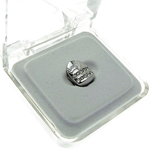 Single Cap Grillz Two Row Silver Tone Canine One K9 Bling Tooth Hip Hop Grill Slug