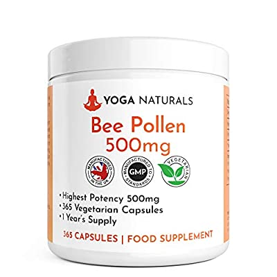 Bee Pollen 500mg | 365 Vegetarian Capsules | Highest Quality Pure Bee Pollen | Energy Booster Vitamins A & B Complex | Improves Efficiency of Immune & Nervous System | UK Made
