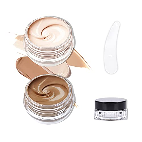 FREEORR 2 Colors Tattoo Cover Concealer Cream, Scar Concealer Tattoo Cover Makeup, Acne Concealer, Waterproof&Long Lasting, Cover for Body Face Concealer Cream Kit, with Coloring Tools