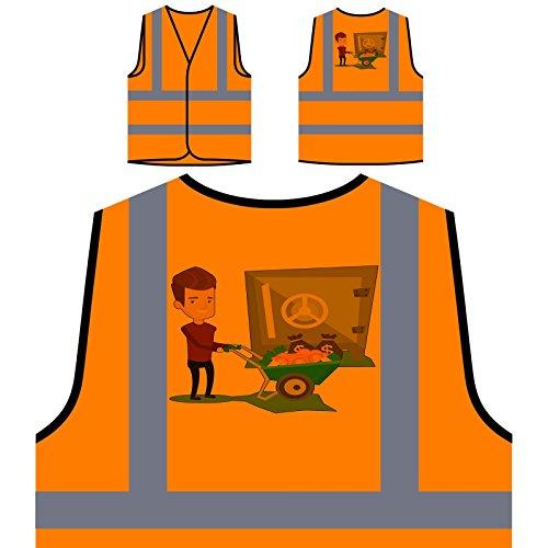 Pilas De Hombre De Caja Fuerte Chaqueta de seguridad naranja...
