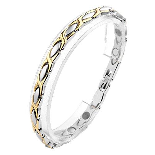 Jovivi Damen Magnetarmband Edelstahl Magnetische Armband Armreif Magnete Armband Armrief Silber+Gold