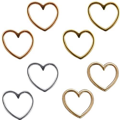 Sadingo Schmuckverbinder Herz, Anhänger Herz, Makramee Anhänger, Makramee Schmuckverbinder, 8 Stück 4 Farben - 15x16 mm