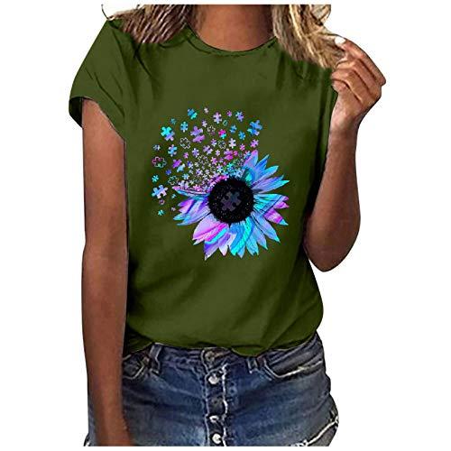 Xmiral T-Shirt Basic Donna T-Shirt Camicetta Donna Casual Stampa Maniche Corte O-Collo Top Larghi (L,3verde)
