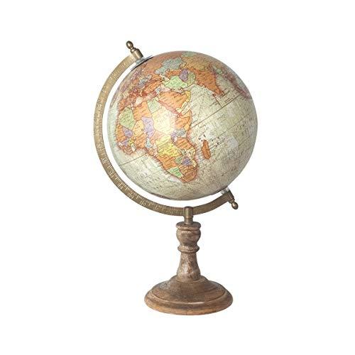 SIGRIS Dekorativer Globus aus Holz mit Sockel 29 cm