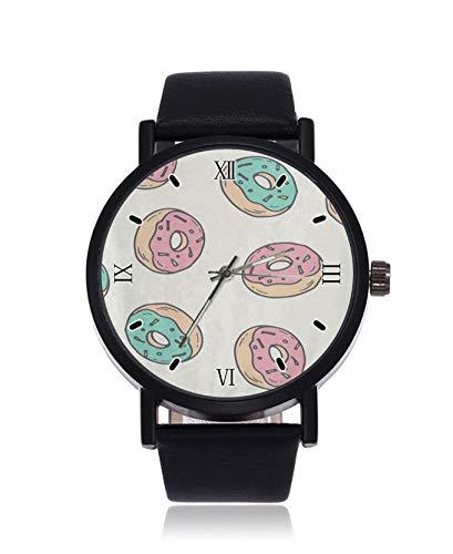 Bunte Donut Sweet Fashion Damen Armbanduhr Quarz Edelstahl Lederband Casual Uhr