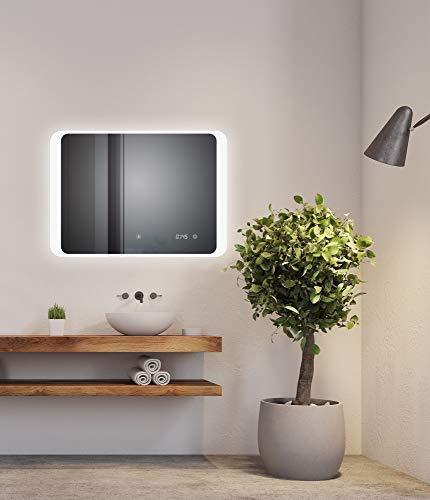 D&S Paris - Espejo de baño con iluminación LED (80 x 60 cm, con función antivaho, espejo retro, iluminación integrada, luz blanca 6500 K)