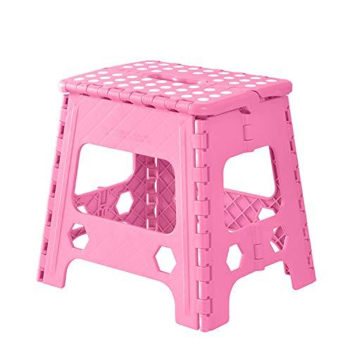 wwl Klappbarer Hocker - Bis 100 Kg - Tragbarer, Rutschfester, Faltbar,Platzsparender Hocker,Tritthocker Klapphocker,Pink-30cm