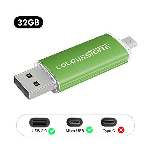 OTG USB 2.0 Flash Drive Colourstone Micro USB 2.0 OTG Para Flash Drive androide verde Smartphones Tablets PCs 32 GB USB