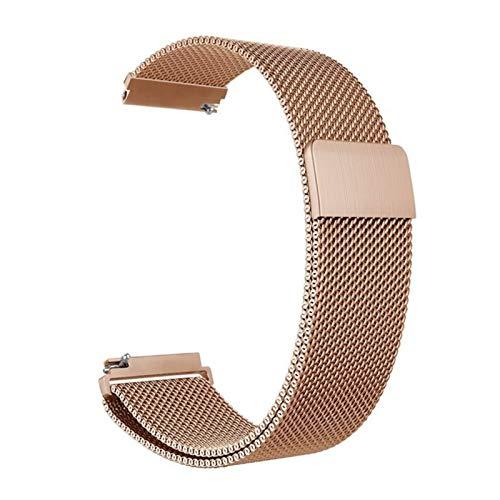 MGHN Banda de Reloj de Acero 12 mm 14 mm 16 mm 18 mm 20 mm 22 mm 24 mm Metal Universal de Acero Inoxidable Red de Raya de Reloj de Raya con Pin de liberación rápida (Color : Rose Gold, Size : 22mm)