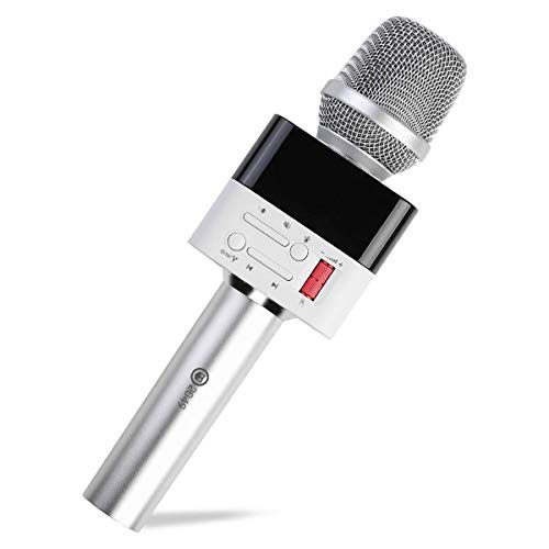 2049 X50 12w Cardioid Dynamic Karaoke Microphone, Handheld Wireless Bluetooth Karaoke Systems Karaoke Machine for Home/Outdoor/Party/Classroom/Car Compatible with Smart phone/PC (X50, Starry Silver)