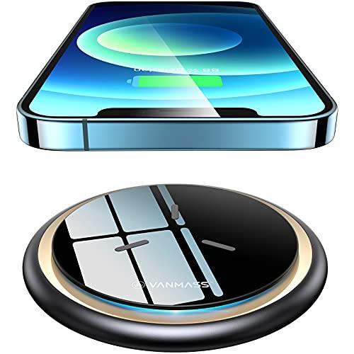 VANMASS Wireless Charger Ladepad [15W Ultra Sicher und Schnellladung] Qi Ladestation Kabellos Ladegerät (Ink. 1.2M Type-C Kabel) für Alle Qi Handys sowie iPhone 12/11/XS/X Samsung S21, Note20 Huawei usw