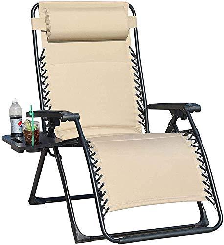 LJYHJ Reclinable reclinables, sillón reclinable Plegable y Ajustable, con portavasos, balancín Pesado, Oficina, Almuerzo Rotura Silla,Beige