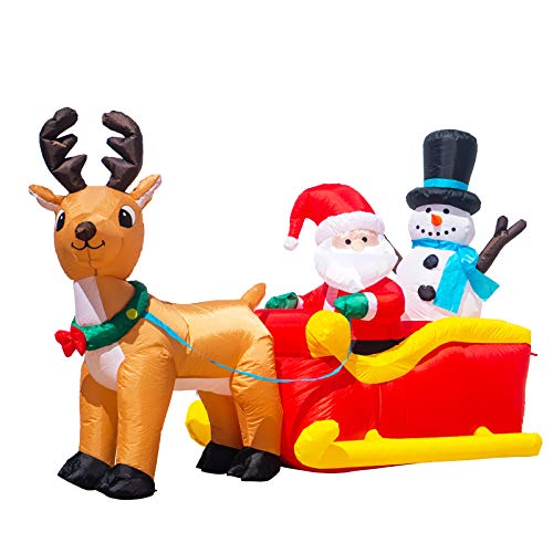 MUMTOP Inflatable Santa Claus and Snowman Reindeer Sleigh LED Light Christmas Outdoor Decoration 6.5 Foot Free Inflatable Equipment
