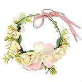 JZK Bandeau Floral Rose pour Femme de mariée Demoiselle d'honneur pour fête de Mariage Carnaval pour Enfant et Adulte, Couronne Florale Couronne Couronne Guirlande de Fleurs hawaï