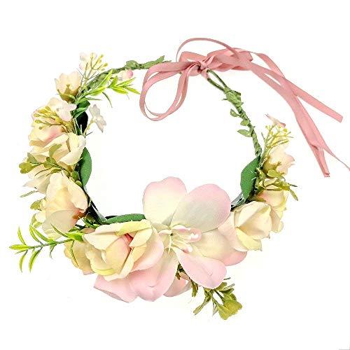 JZK Rosa marfil flores corona diadema tiara guirnalda tocado guirnalda floral para mujer niña boda fiesta en la playa fotografía de vacaciones accesorio