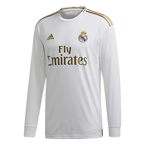 adidas Men's Real Madrid Home Long Sleeve Jersey 2019-20 (White/Gold) (L)