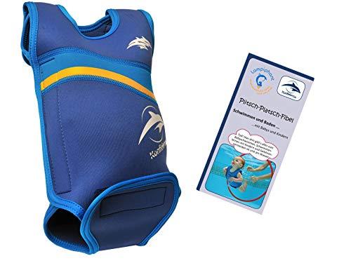 Lampiphant® + Konfidence Babywarma, Schwimm-Anzug mit Plitsch-Platsch-Fibel, Nautisch/Blau, 6-12 Monate
