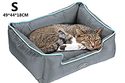 Pecute Waterproof Pet Bed for Cats and Small Medium Dogs Detachable Rectangle Cuddler Pet Sleeper Machine Washable
