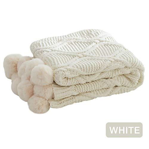 Seasaleshop Gebreide knuffeldeken, Knitting Ball tapijtdeken bank deken chenille pluche deken, 130 160 cm.