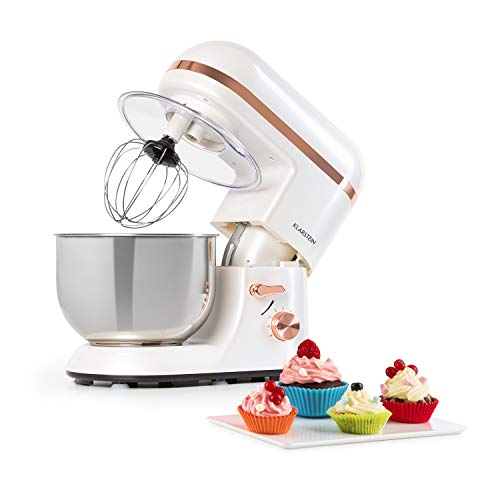 Klarstein Bella Elegance robot de cocina - 1300W/1,7PS en 6 niveles con función pulso, sistema de rotación planetario, cuenco de acero inoxidable de 5 l, 3 piezas de tono cobrizo, blanco